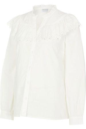 Mama Licious Damen Blusen - Pcmevangla Maternity Shirt Damen White