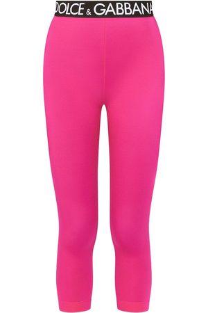 Dolce & Gabbana Damen Leggings & Treggings - Cropped-Leggings mit Logo-Bund