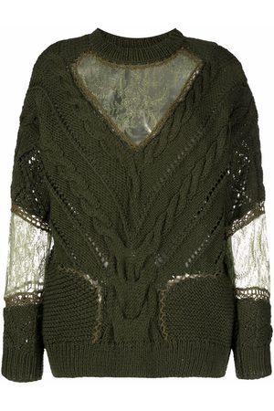 ALMAZ Damen Strickpullover - Pullover mit Spitzeneinsätzen