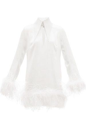 16Arlington Michelle Feather-trimmed Satin Mini Dress
