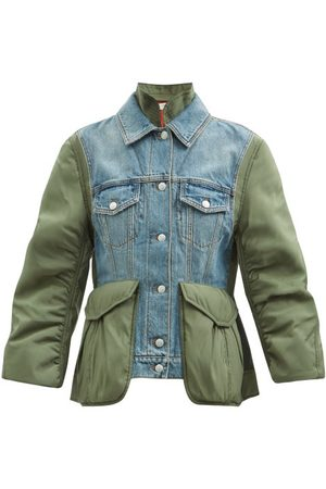 Alexander McQueen Curved-sleeve Denim And Shell Jacket