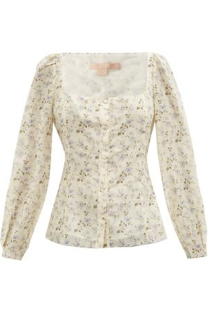Brock Collection Thelma Floral-print Linen-blend Top