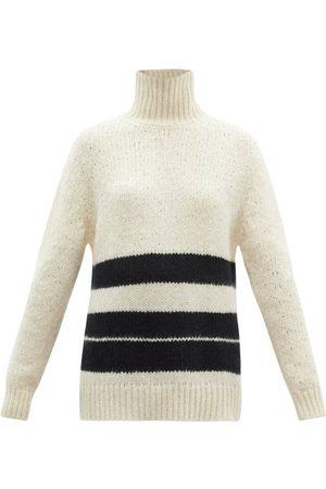 Jil Sander High-neck Striped Mohair-blend Sweater