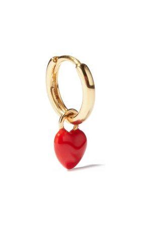 Alison Lou Heart-charm 14kt Single Hoop Earring