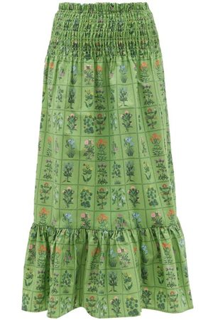 RHODE Artie Shirred Floral-print Cotton Midi Skirt