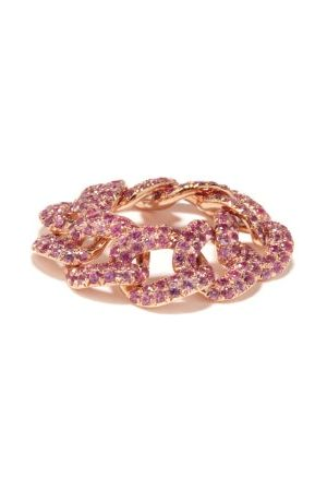 Shay Sapphire & 18kt Rose- Chain-link Ring