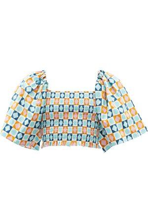 La DoubleJ Spritz Diamond Dots-print Puff-sleeve Cotton Top