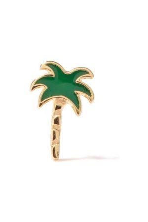 Alison Lou Palm Tree Enamel & 14kt Single Earring