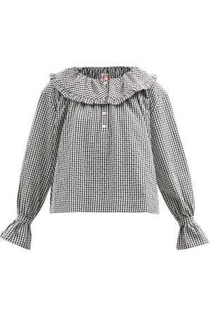 Shrimps Meadow Ruffled-collar Gingham Cotton-blend Blouse
