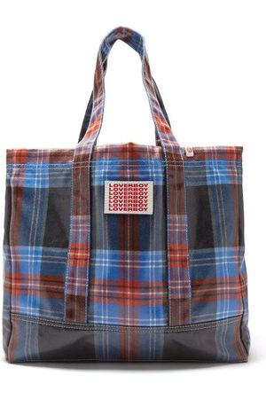 Charles Jeffrey LOVERBOY Logo-patch Tartan Coated-twill Tote Bag