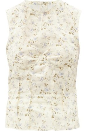 Brock Collection Thao Floral-print Linen-blend Top