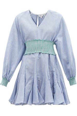 RHODE Ella Flared Striped Cotton-blend Hopsack Dress