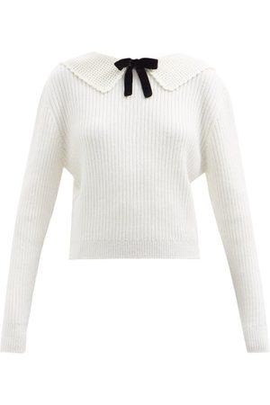 Miu Miu Exaggerated-collar Ribbed Knit Sweater