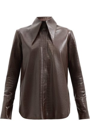 16Arlington Seymour Crocodile-effect Leather Shirt