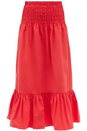 RHODE Artie Shirred Cotton Midi Skirt
