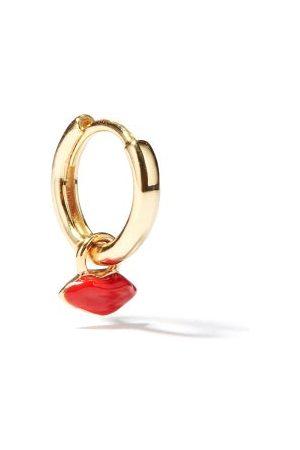 Alison Lou Lips-charm 14kt Single Hoop Earring