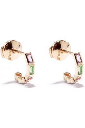 Yvonne Léon Mismatched Sapphire & 9kt Gold Hoop Earrings