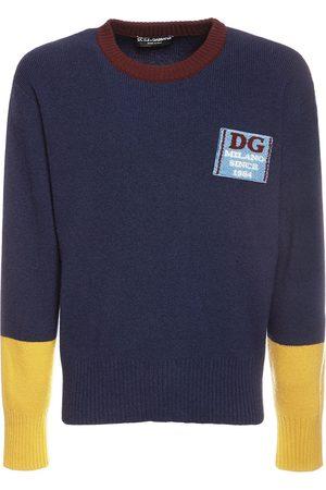 Dolce & Gabbana Herren Strickpullover - Pullover Aus Wollstrick Mit Dg-patch