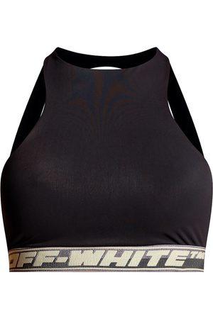 Off White Damen Sport BHs - Training top with logo , Damen, Größe: 44 IT