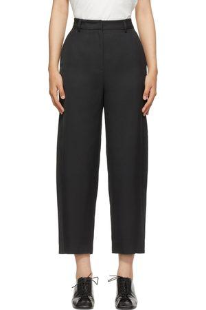 Totême Black Viscose Twisted Seam Trousers