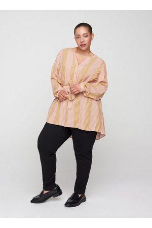 Zizzi Damen Tuniken - Tunika Große Größen Danem Langarm Tunika aus Viskose mit V-Ausschnitt