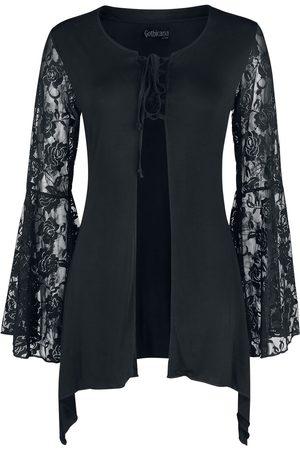 Gothicana by EMP Damen T-Shirts, Polos & Longsleeves - Schwarzer Cardigan mit ausgestellten Spitzenärmeln Cardigan