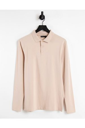 ASOS DESIGN – Langärmliges Polo-Muskelshirt aus Bio-Jersey in -Neutral