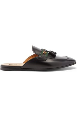 Gucci Paride Web-striped Leather Backless Loafers