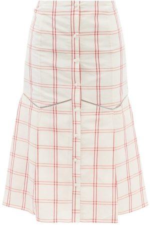 Brock Collection Tania Windowpane-check Linen-blend Midi Skirt