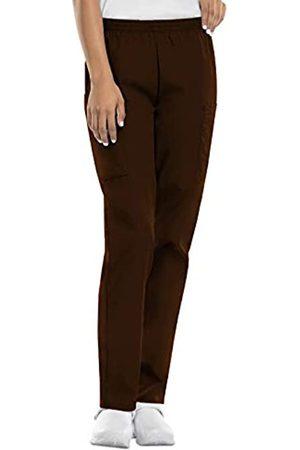 Cherokee Women's Workwear Elastic Waist Cargo Scrubs Pant, Chocolate