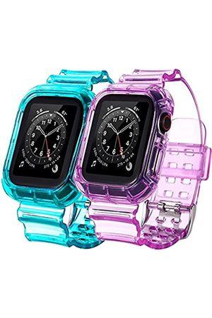 BNBIDEN [2 Pack] Armbänder kompatibel mit Apple Watch Bands 42 mm 44 mm für Damen und Herren, transparent, Sport
