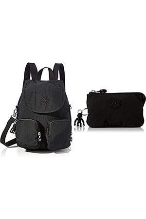 Kipling Womens Firefly UP Backpacks, Black Noir, 14x22x31 cm + Womens CREATIVITY S POUCHES/CASES, Black Noir
