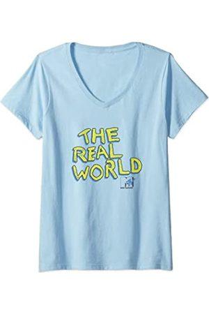 MTV Damen Distressed The Real World Logo T-Shirt mit V-Ausschnitt