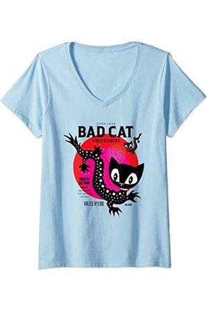 Pussy Deluxe Damen Dragon Cat T-Shirt mit V-Ausschnitt