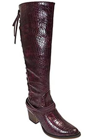 ARIDER Girl Haley Whiskey Westernstiefel, kniehoch, spitzer Zehenbereich, Schnürung auf der Rückseite, Reißverschluss, (Croco Burgund)