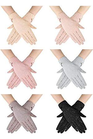 SATINIOR 6 Paare Frauen Sommer UV Schutz Handschuhe rutschfeste Touchscreen Fahrhand Schuhe Baumwolle Spitze Blumen Handschuhe