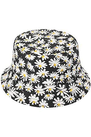 ZLYC Unisex Blumen Pflanze Regenwald-Druck Leinwand Sonnenhut Strandhut Fishermütze (Gänseblümchen )