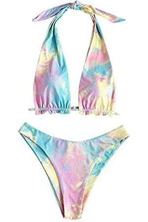 Zaful Damen Neckholder Bikini Gerippt Tie Back Tie Side Hoch Cut Zweiteiliger Badeanzug - Pink - Large