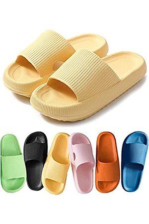 COVS Pillow Slides Slippers, Non-Slip Quick Drying Slipper for Womens/Mens,Massage Pool Foam Bathroom Super Soft Thick Sole Indoor Home Open Toe Sandals EVA Platform (Yellow, 42-43