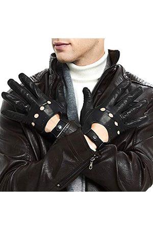 ZLUXURQ Herren Luxus 100% Schaffell Fahrhandschuhe-Weiches hochwertiges Leder