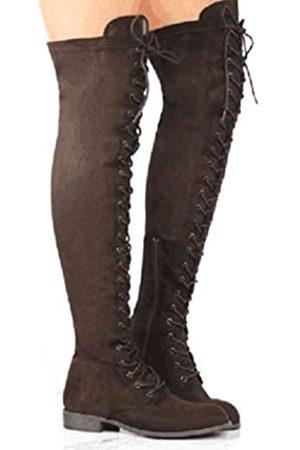 YING LAN Damen Overknee Low Heel Lace Up Hohe Stiefel, (coffee)