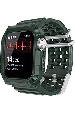 Lasllaves Kompatibel mit Apple Watch Band mit Hülle, Smart Watch TPU robuste Bumper Case mit atmungsaktiver Herren Damen Sport Armband Military Bands für iWatch Series SE/6/5/4/3/2/1 (Midnight Green