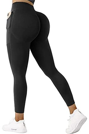 SUUKSESS Damen-Capri-Leggings mit Taschen, 7/8 Länge, gedreht, hohe Taille