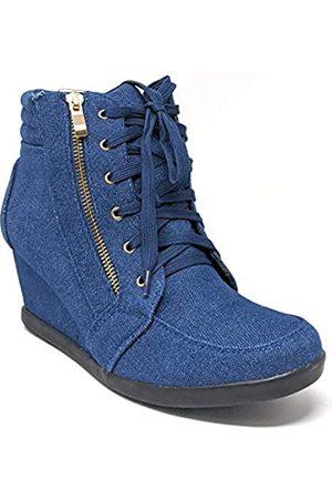FOREVER Damen Sneaker, seitlicher Reißverschluss, Schwarz, (Blue Jeans)
