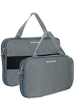 BAGVIO Kompressions-Aufbewahrungswürfel für Reisen – hochwertiges Gepäck-Organizer-Set. - Cube-4-Grey__2