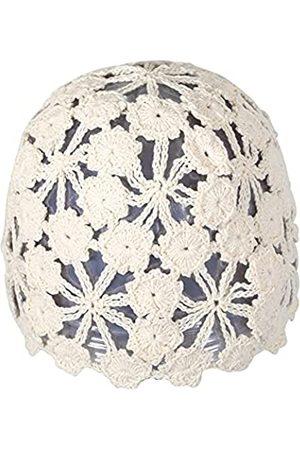 ZLYC Women Cotton Crochet Skull Cap Handmade Knit Cutout Floral Beanie Hat (Plain )