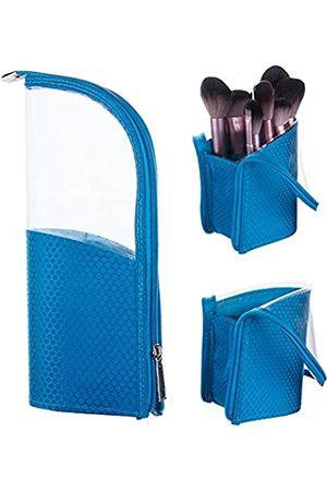 Yoseng KosmetiktaschefürMake-up-PinselReisetascheStifteetuifürdenSchreibtischtransparenterKunststoffmitReißverschlusstragbarwasserdichtstaubfreiaufstellbarkleineKosmetiktasche(blau)