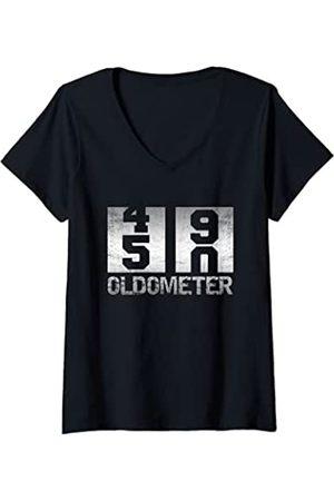 Lustig 50. Geburtstag Geschenke Damen Oldometer 49-50 Hemd 50. Geburtstag Geschenk T-Shirt mit V-Ausschnitt