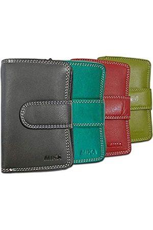 Mika 80022598-4er Set Damengeldbörsen aus Echt Leder, 4 Portemonnaies im Hochformat, Geldbeutel mit 9 Kreditkartenfächer, 2 Scheinfächer und doppeltes Münzfach, Brieftaschen ca. 13,5 x 9,5 x 3