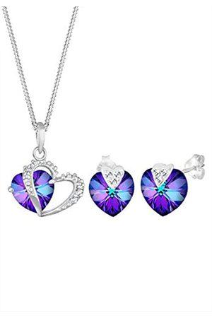 Elli Schmuckset Damen Herzen Anhänger Symbol Liebe elegant mit Kristallen in 925 Sterling Silber